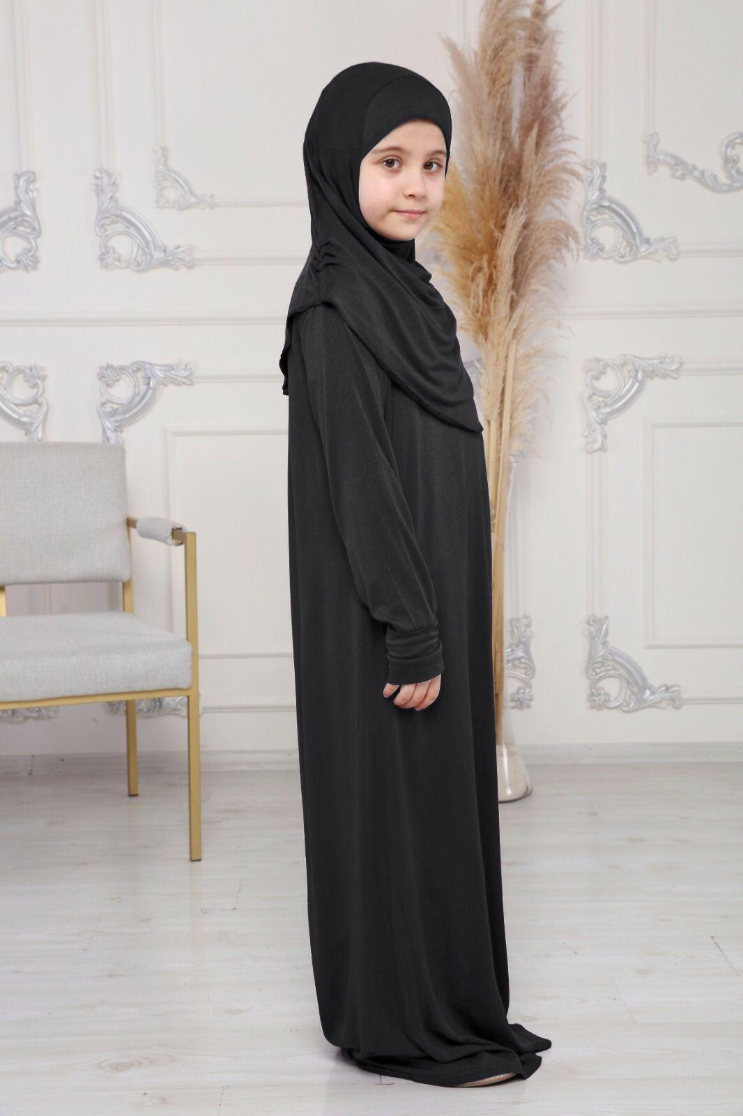 Nour abaya med hijab | Svart