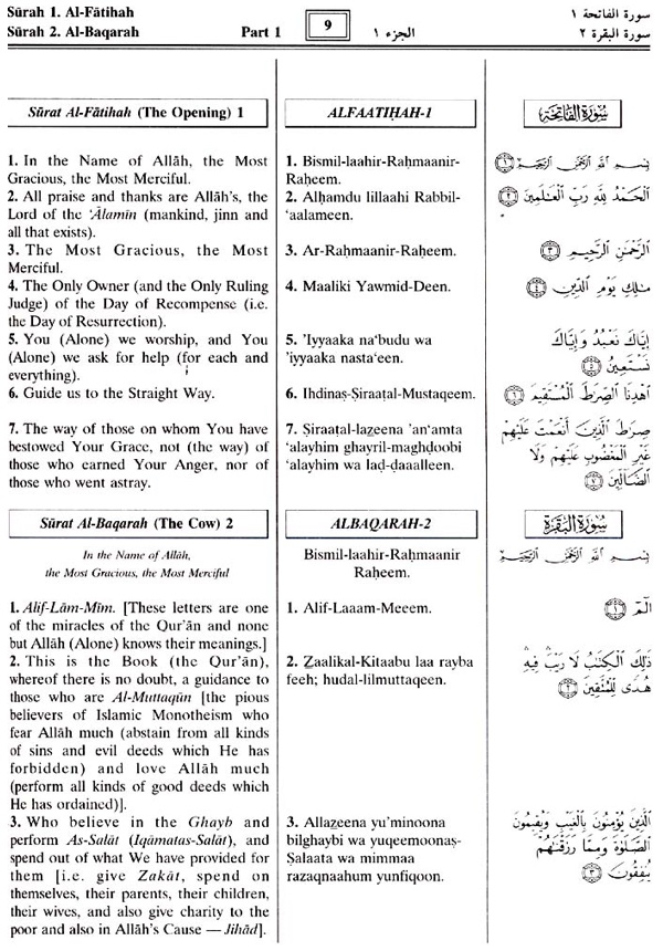 The Noble Quran Transliteration