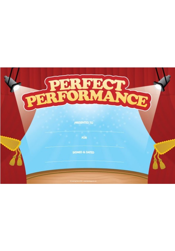 Perfect Performance Certificate