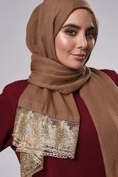 Marwa Glitter Sjal Ljusbrun