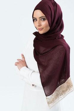 Marwa Glitter Sjal Vinröd