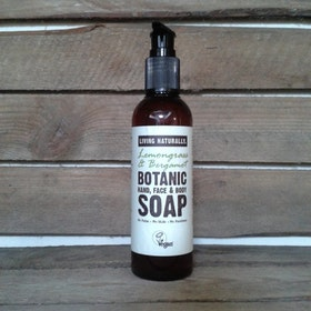 Living Naturally-Lemongrass & Bergamot- Botanic Liquid Soapnut Soap 200ML