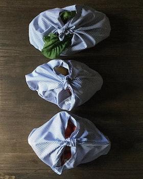 Bentobag i blå-vitrandigt - ekologisk bomull