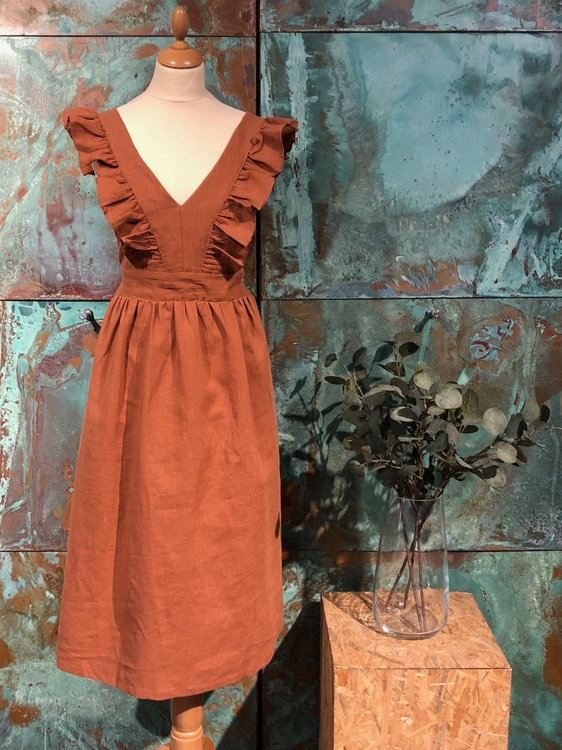 Ashley Frill Dress - Brown