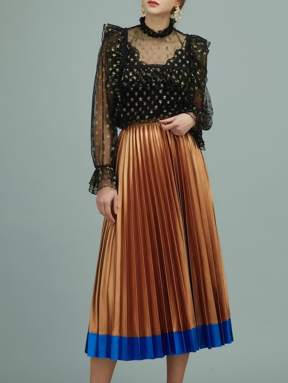 Judith Pleated Skirt - Gold