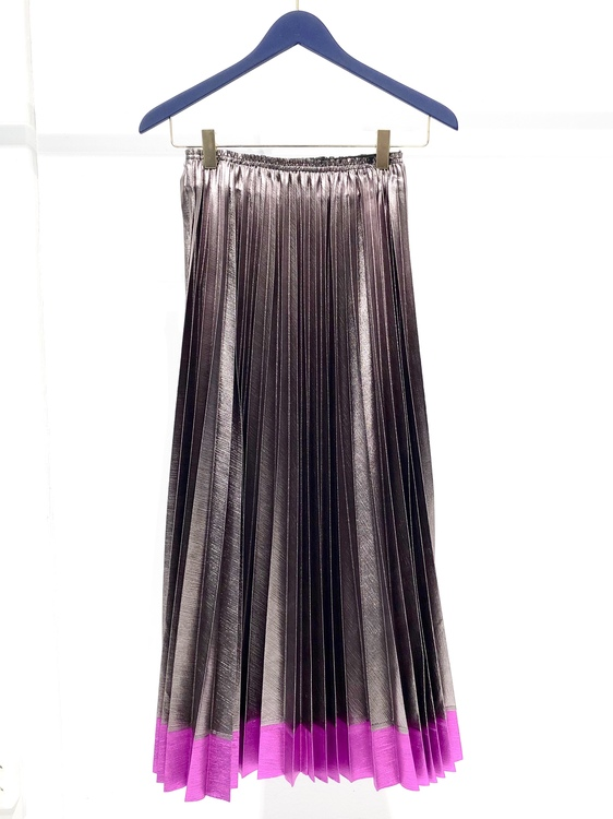 Judith Pleated Skirt - Silver