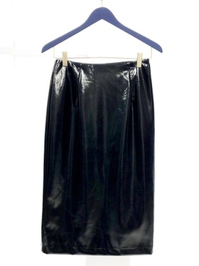 Neon Faux Leather Skirt - Black