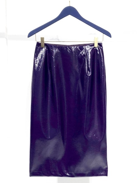Neon Faux Leather Skirt - Purple