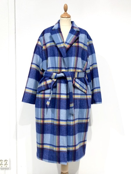 Check Long Coat - Blue