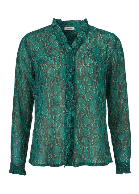 Sidsel Print Shirt - Emerald Snake