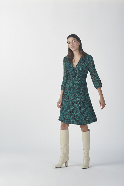 Sidsel Print Dress - Emerald Snake
