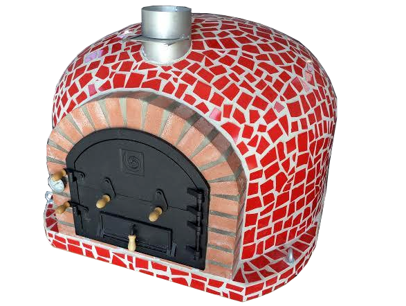 Pizzaugn mosaik 120 x 120 cm Blå, röd eller vit Isolerad pizzaugn