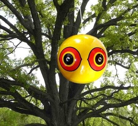 Fågelskrämma 3 st 3d boll med ögon ( ENDAST GUL )