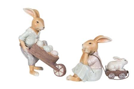 Kaninpar med kärra & vagn