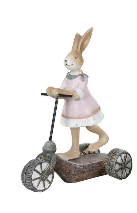 Kanin flicka på sparkcykel