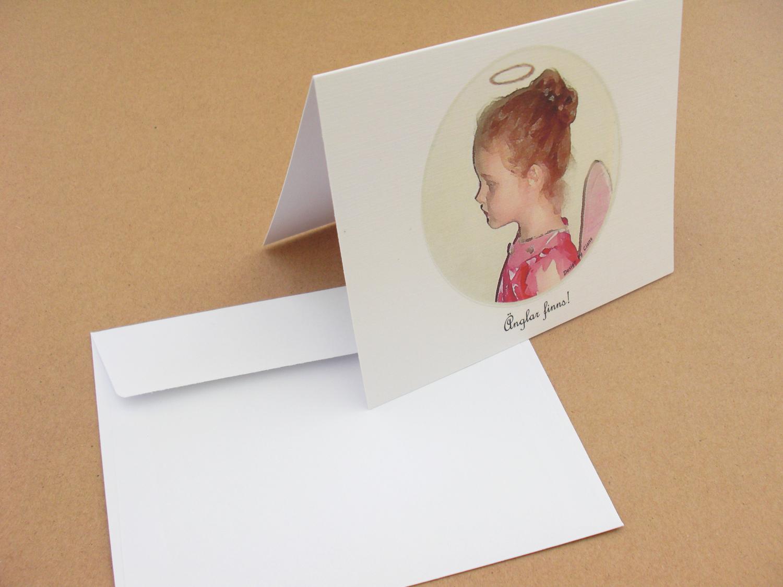 """Exklusivt DUBBELT kort """"Änglar finns!"""" inkl. kuvert"""