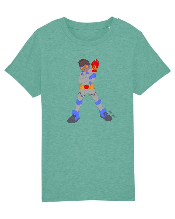Grön T-shirt ekologisk bomull för barn, med en superhjälte på med mörk hy.