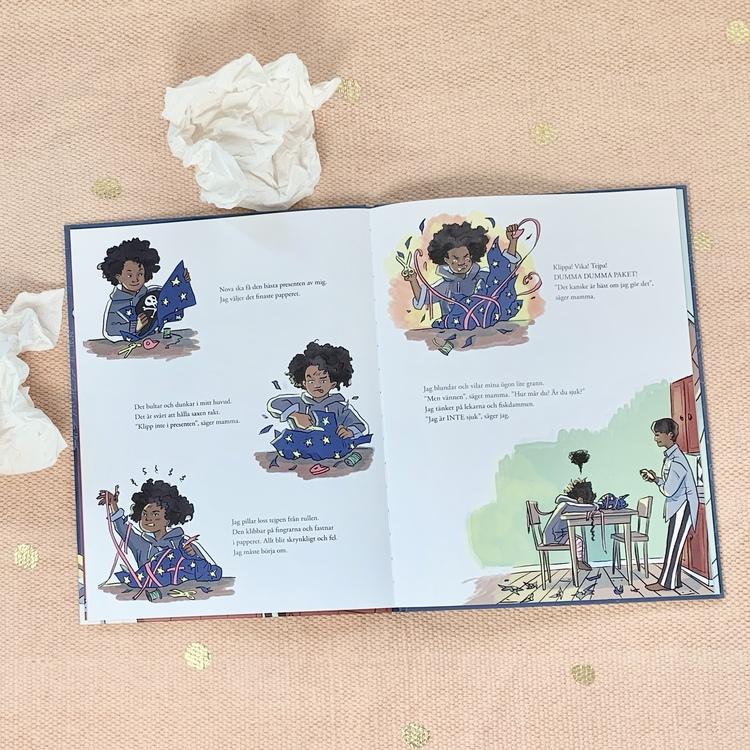 Bilderboken Jag är inte sjuk! Författare Sara Bergman Elfgren, illustratör Maria Fröhlich, förlag Rabén & Sjögren. Mångfald bland karaktärerna, mixad familj och barn med mörk hy är representerade.