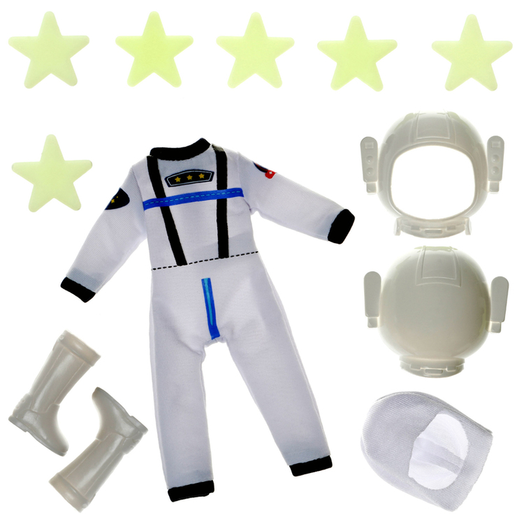 Tillbehör till Lottie-dockorna, rymdräkt inklusive självlysande och självhäftande stjärnor från varumärket Lottie (Astro adventures).