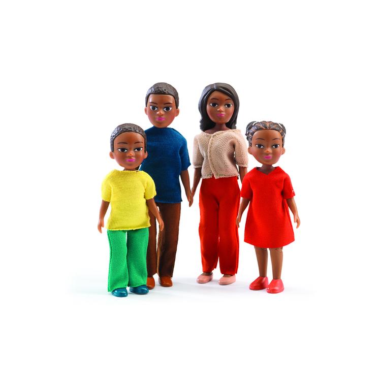 Dockor med mörk hy till dockhus, två vuxna och två barn från Djeco (The Family Milo & Lila)
