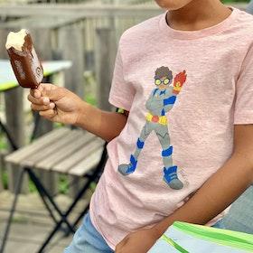 T-shirt med superhjälten Zion (Ljusrosa)