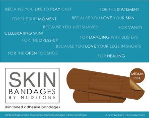 Skin bandages by Nuditone - Medium tone