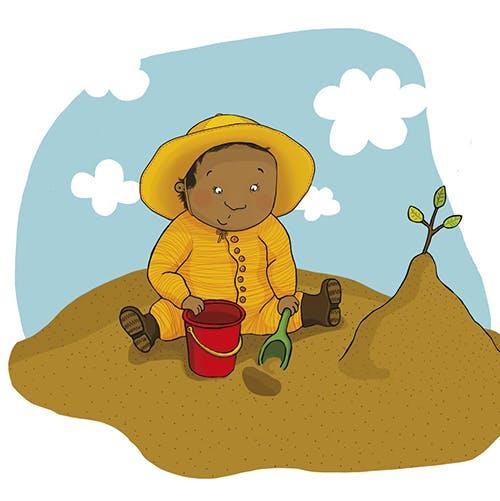 Pekbok Leka ute från Olika förlag. Författare Marin Salto, Illustratör Maja-Stina Andersson. Mångfald bland karaktärerna där barn med mörk hy är representerade, även mixade barn.