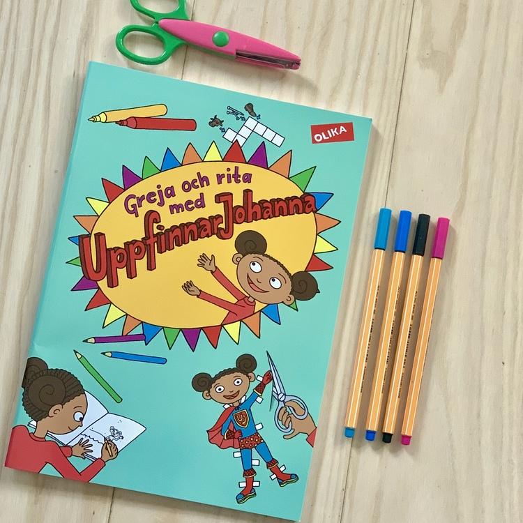 Greja och rita med UppfinnarJohanna, pysselbok innehållande korsord för barn, klippdocka och annat kul från Olika förlag med UppfinnarJohanna.