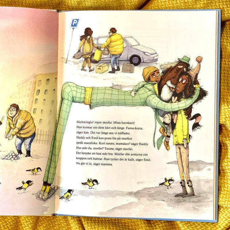 Bilderboken Morfar flyttar in. Författare Jali Madi Susso & Eva Susso, illustratör Marcus-Gunnar Pettersson, Lilla piratförlaget. Mångfald bland karaktärerna, mixade barn och mixade familjer, barn med