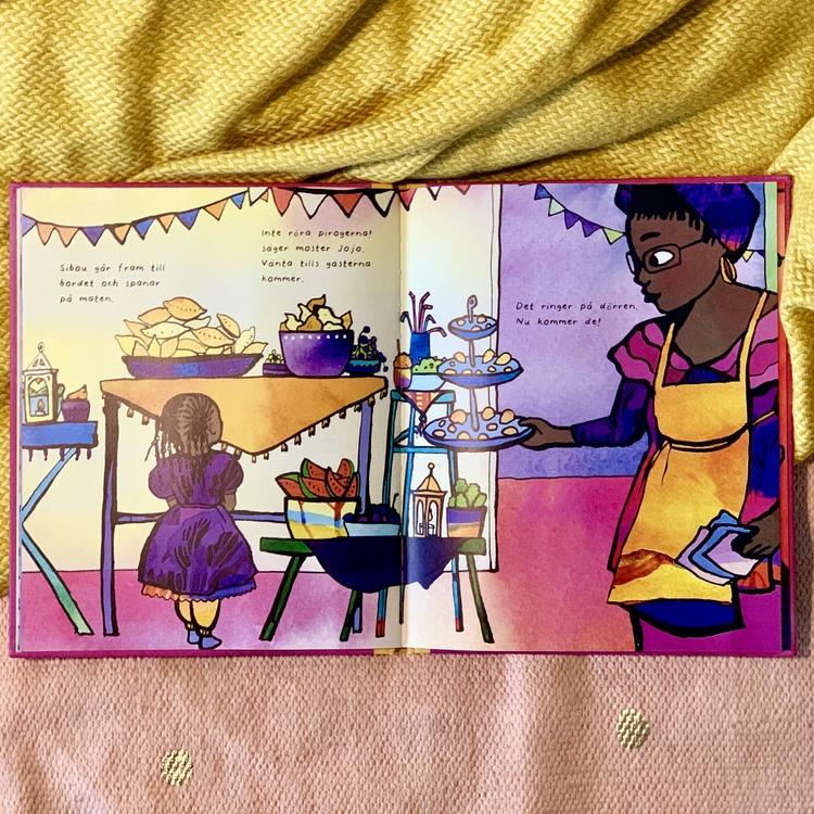 Barnbok Eid - en festmåltid, mångkulturell bok, mångfald bland karaktärerna där mörkhyade, muslimska personer är representerade. Andra kulturer berörs, firar Eid.