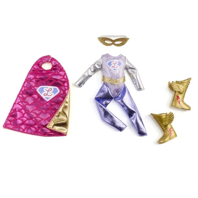 Tillbehör till Lottie-dockorna, superhjältedräft inklusive mantel mask och skor från varumärket Lottie (Super Lottie).