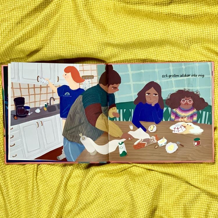 Bilderboken Jag älskar inte. Författare Vanja Burden, illustratör Nathalie Ruejas Jonson, förlag Rabén & Sjögren. Mångfald bland karaktärerna där barn med mörk hy är representerade, mixade barn och mi
