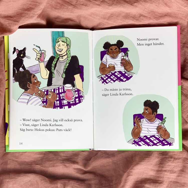 lätt att läsa bok, Hokus pokus: Puts väck! Författare Karin Frimodig & Sara Berg, Illustratör Hanna Böhm från Olika förlag. Mångfald bland karaktärerna där barn med mörk hy är representerade.