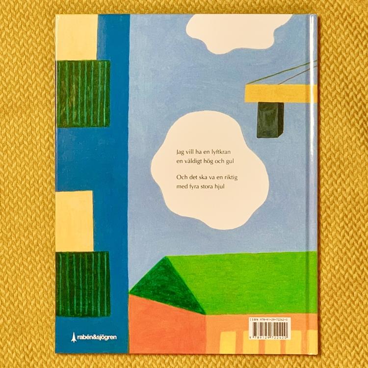 Bilderbok Jag vill ha en lyftkran. Mångfald bland karaktärerna där barn med mörk hy är representerade, barnbok om lyftkranar.