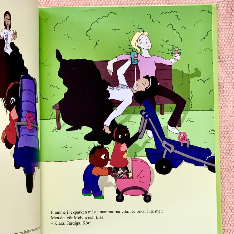 Bilderboken Melvin, Elsa & krokodilia, en inkluderande barnbok där mörkhyade barn är representerade. Rolig barnbok för barn från 3 år.