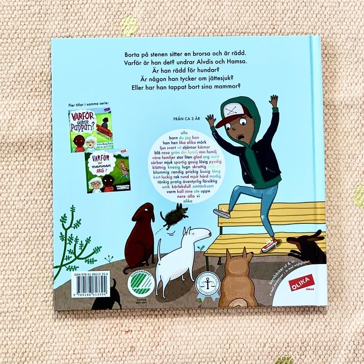 Bilderboken Varför är brorsan rädd?, en inkluderande barnbok där mörkhyade barn är representerade. Rolig barnbok för barn från 3 år. En bok om rädsla och känslor, boken är från OLIKA förlag.