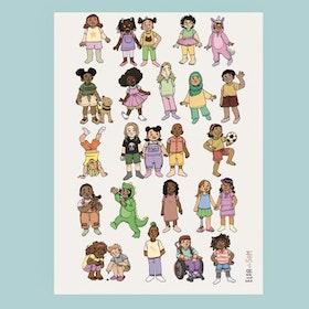 Affisch Glada barn! Ljusgrå bakgrund (A4)