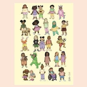 Affisch Glada barn! Gul Bakgrund str 50x70 cm