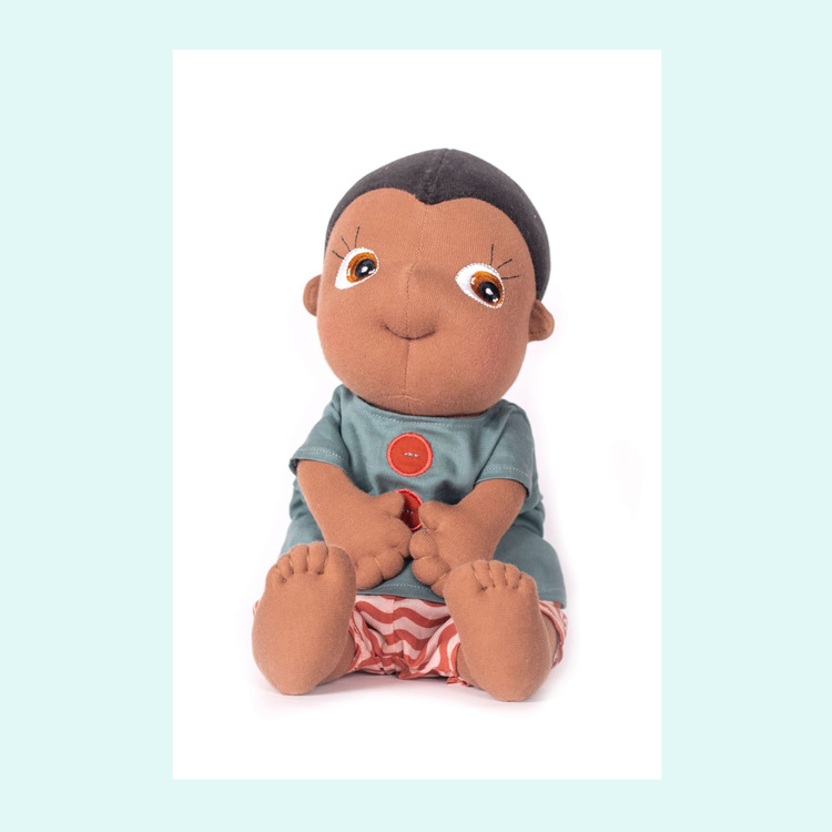 Rubens barn Rubens Tummies Kelvin, ekologisk handgjord docka, en brun mjuk pojkdocka.