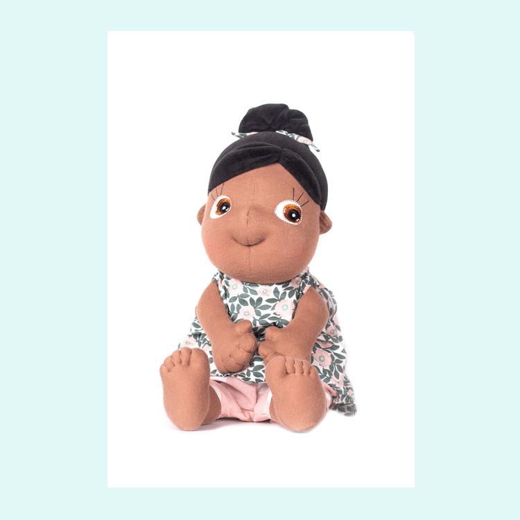 Rubens barn Rubens Tummies Summer,  ekologisk handgjord docka, en brun mjuk docka från 0 år.. docka med uttagbar vetekudde.