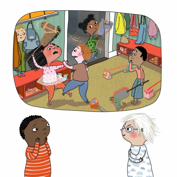 Bilderboken Varför bråkar syrran? från Olika förlag, en inkluderande barnbok som handlar om barns känslor.