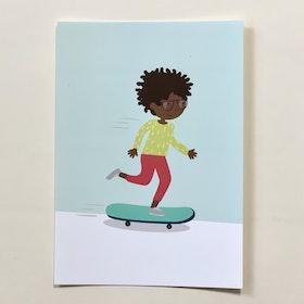 Vykort - Skateboard-åkare (A6 format)