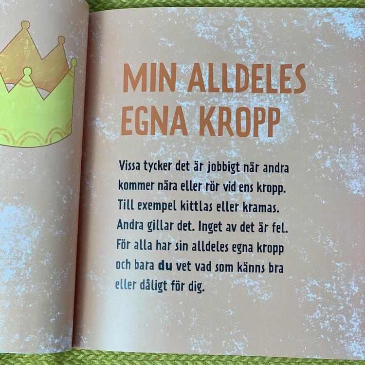 Stopp! Min kropp! En bok om integritet och barnkonventionen för barn i lågstadiet, boken rekommenderas från 6 år. Boken tagits fram i samarbete med Rädda Barnen.