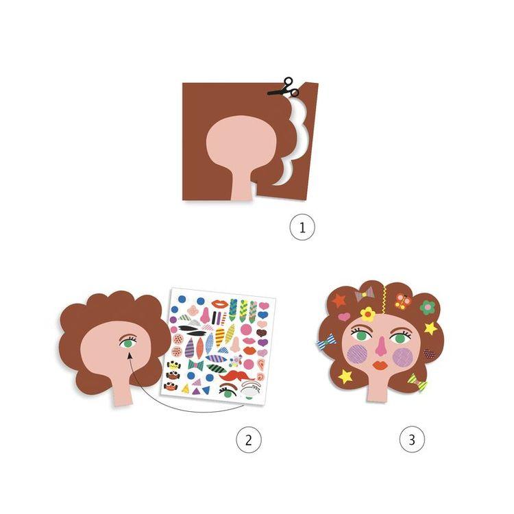 Stickers, hairdresser. Roligt pyssel med klistermärken och skapar olika frisyrer, chans att leka frisör. Pyssel från Djeco. Ett inkluderande pyssel.