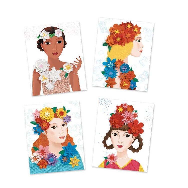Young girls in flowers från Djeco. Pappersblommor att pyssla med.