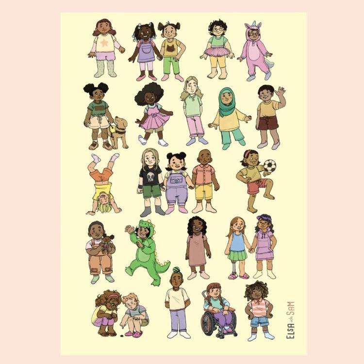 En affisch med olika barn. En illustration med fokus på mångfald med olika etniciteter, kroppsformer och funktionsvariationer. En miljövänlig affisch som är Svanen-märkt.