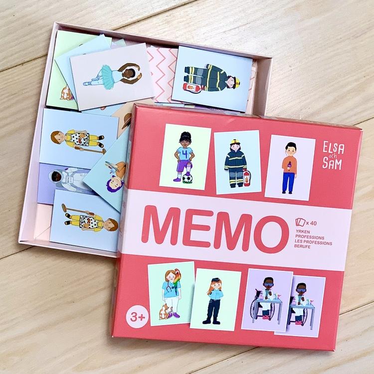 Ett roligt Memo med olika yrken. Ett spel med fokus på mångfald med olika etniciteter, kroppsformer och funktionsvariationer. Ett miljövänligt spel.