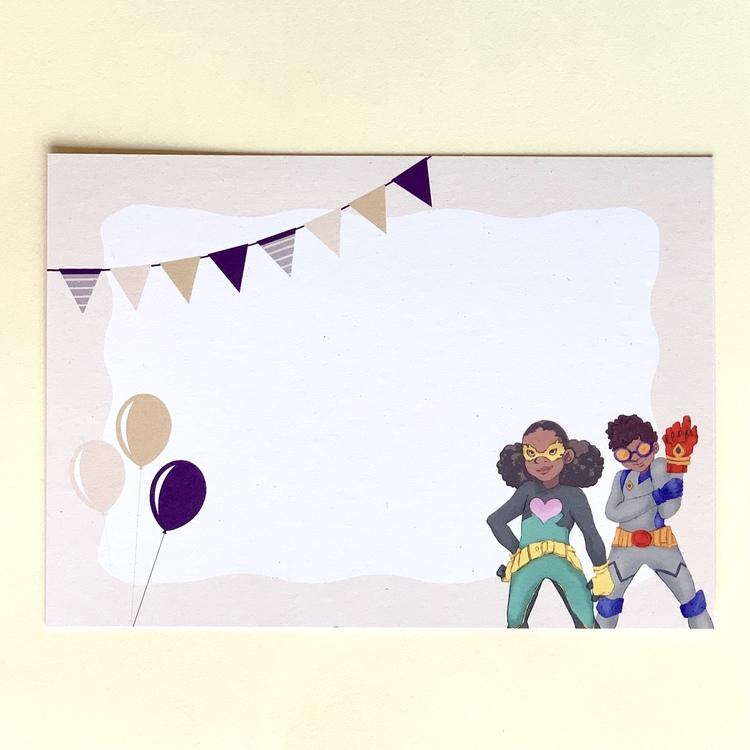 vykort med superhjältekort, passar som inbjudningskort till superhjältekalas. Superhjältar med brun hy.