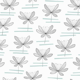 Water Lily Vit / Mintgrön