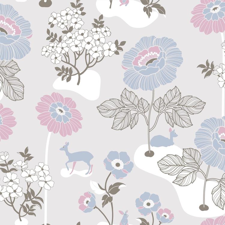 Blomsteräng Ljusgrå